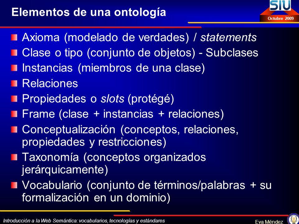 Introducción a la Web Semántica: vocabularios, tecnologías y estándares Eva Méndez Octubre 2009 Elementos de una ontología Axioma (modelado de verdade