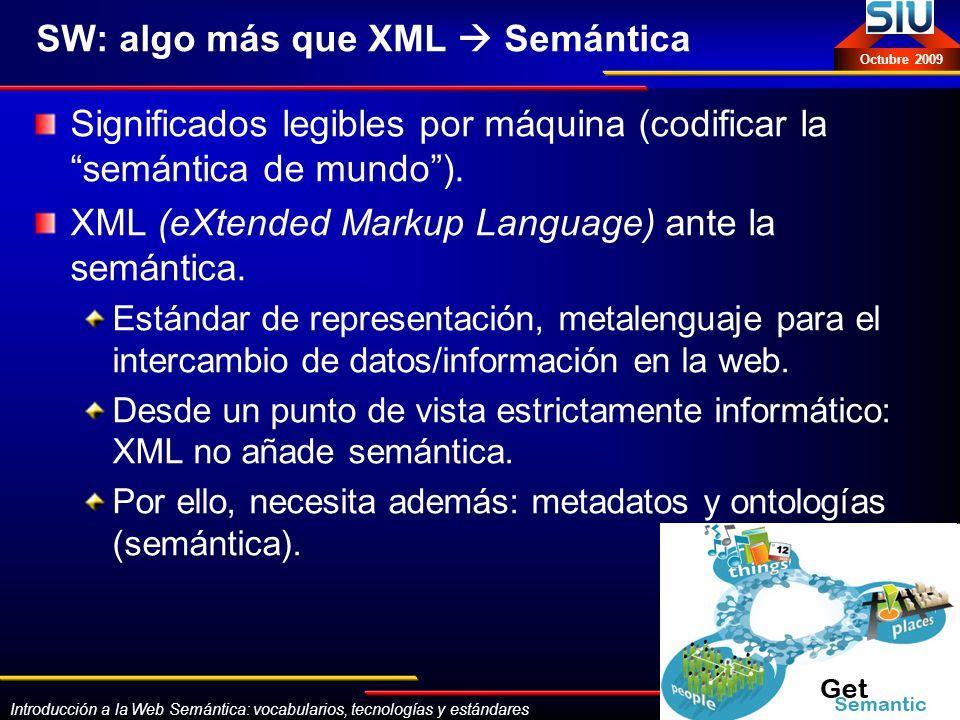 Introducción a la Web Semántica: vocabularios, tecnologías y estándares Eva Méndez Octubre 2009 SKOS-Core: http://www.w3.org/2004/02/skos/ http://www.w3.org/2004/02/skos/ Definición: SKOS Core es un vocabulario que sirve para hacer descripciones RDF de Sistemas de Organización del Conocimiento (KOS) de orientación lingüística, como por ejemplo: Tesauros, Glosarios, Vocabularios Controlados, Taxonomías, Esquemas de clasificación (schemes).