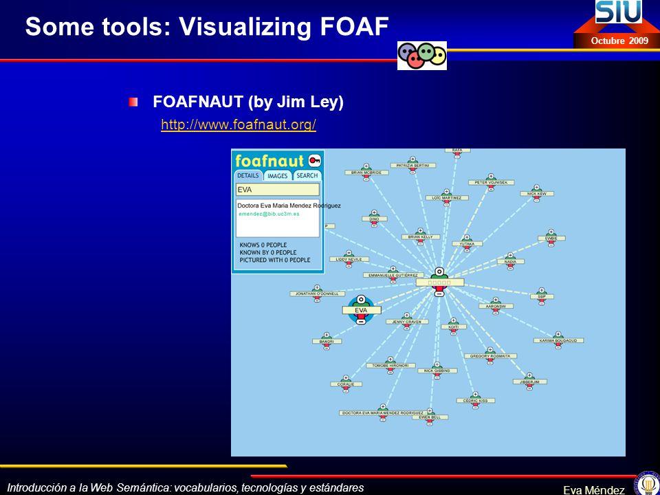Introducción a la Web Semántica: vocabularios, tecnologías y estándares Eva Méndez Octubre 2009 Some tools: Visualizing FOAF FOAFNAUT (by Jim Ley) htt