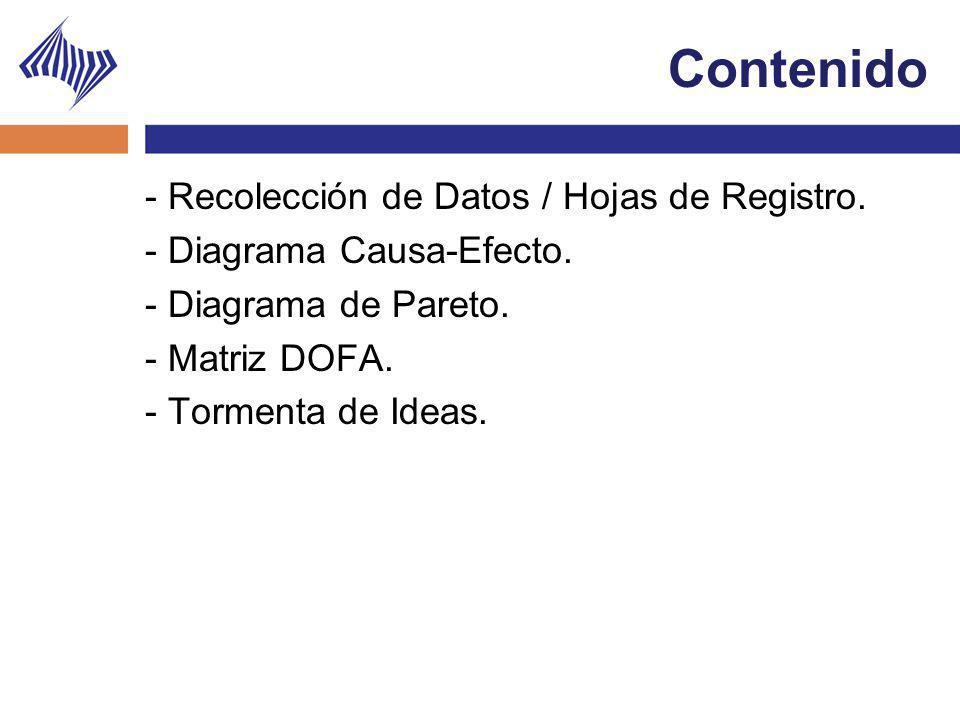 Contenido - Recolección de Datos / Hojas de Registro. - Diagrama Causa-Efecto. - Diagrama de Pareto. - Matriz DOFA. - Tormenta de Ideas.
