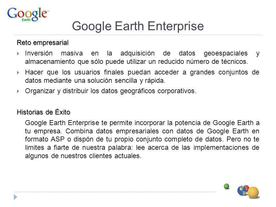 Google Earth Enterprise Reto empresarial Inversión masiva en la adquisición de datos geoespaciales y almacenamiento que sólo puede utilizar un reducid