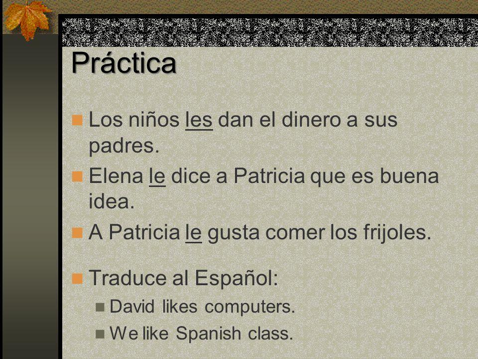 Indirect Object Pronouns Patricia les escribe una carta a sus Padres..