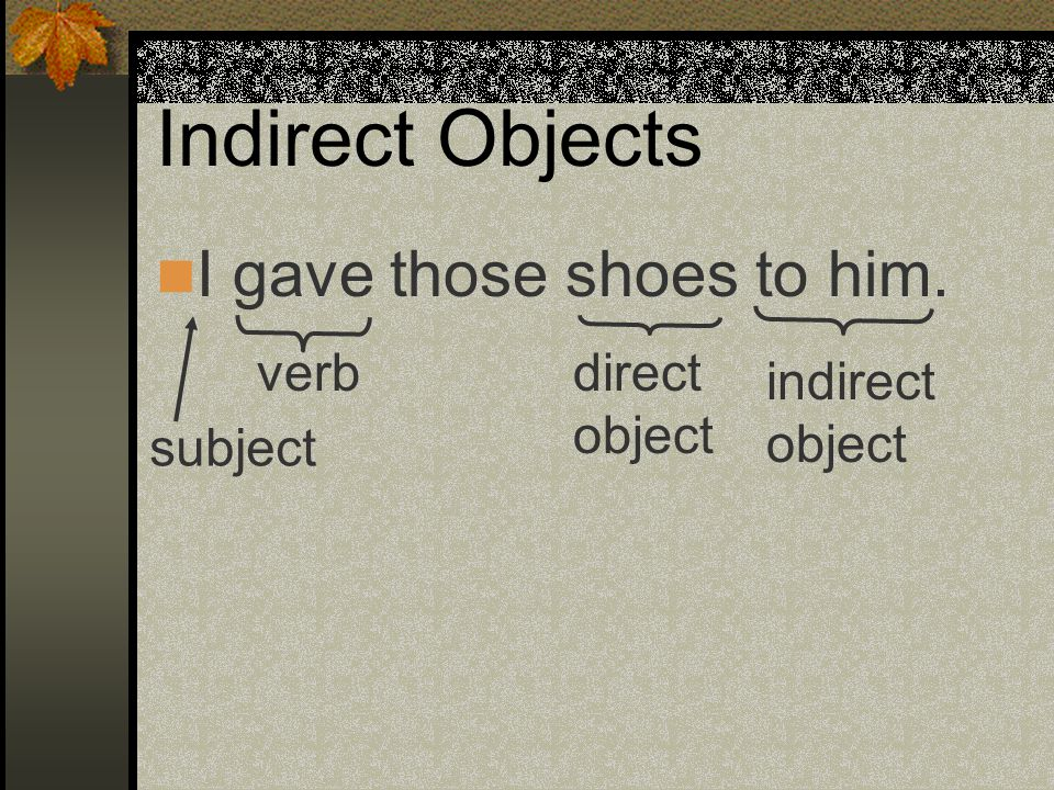 Indirect Objects I bought that skirt for her. subject verb direct object indirect object