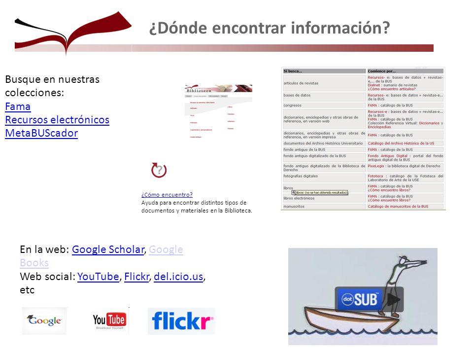 Busque en nuestras colecciones: Fama Recursos electrónicos MetaBUScador En la web: Google Scholar, Google Books Web social: YouTube, Flickr, del.icio.us, etcGoogle ScholarYouTubeFlickrdel.icio.us ¿Cómo encuentro.