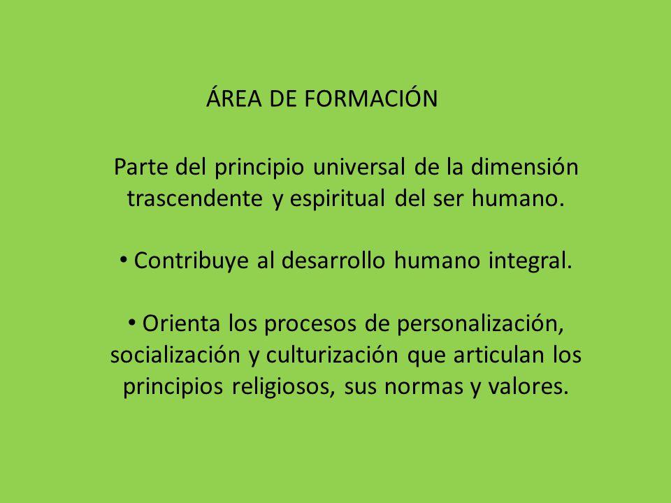 Parte del principio universal de la dimensión trascendente y espiritual del ser humano. Contribuye al desarrollo humano integral. Orienta los procesos