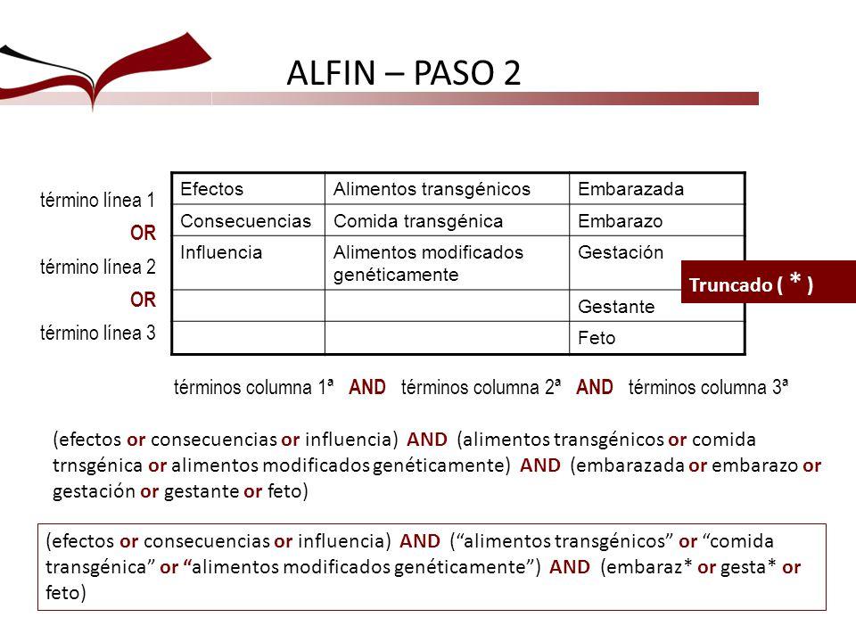 términos columna 1ª AND términos columna 2ª AND términos columna 3ª ALFIN – PASO 2 EfectosAlimentos transgénicosEmbarazada ConsecuenciasComida transgé
