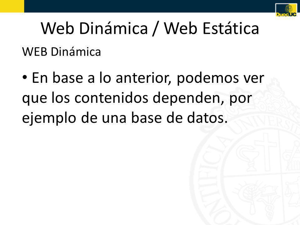 Web Dinámica / Web Estática En base a lo anterior, podemos ver que los contenidos dependen, por ejemplo de una base de datos.