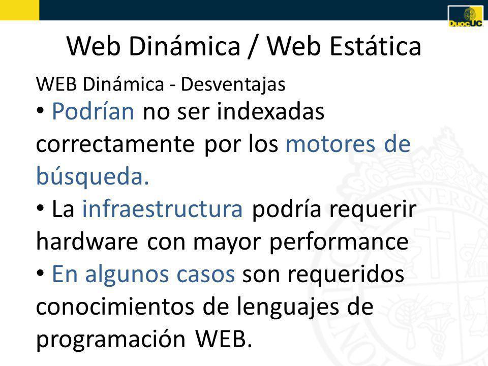 Web Dinámica / Web Estática Podrían no ser indexadas correctamente por los motores de búsqueda.