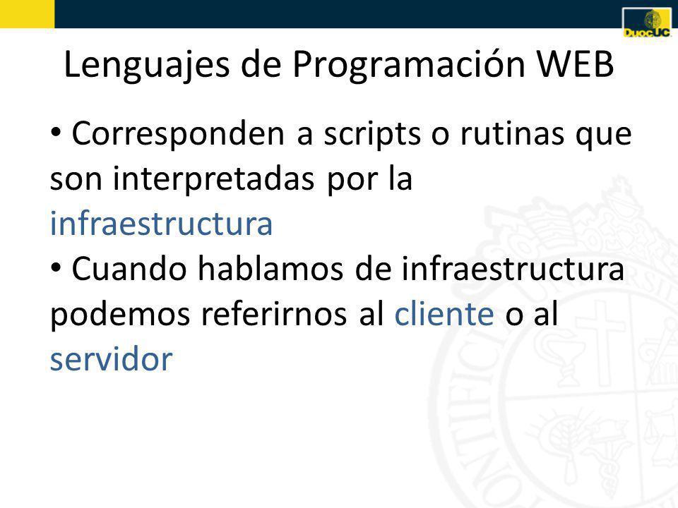 Lenguajes de Programación WEB Corresponden a scripts o rutinas que son interpretadas por la infraestructura Cuando hablamos de infraestructura podemos referirnos al cliente o al servidor