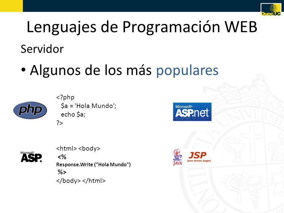 Lenguajes de Programación WEB Algunos de los más populares Servidor <?php $a = Hola Mundo ; echo $a; ?> <% Response.Write ( Hola Mundo ) %>