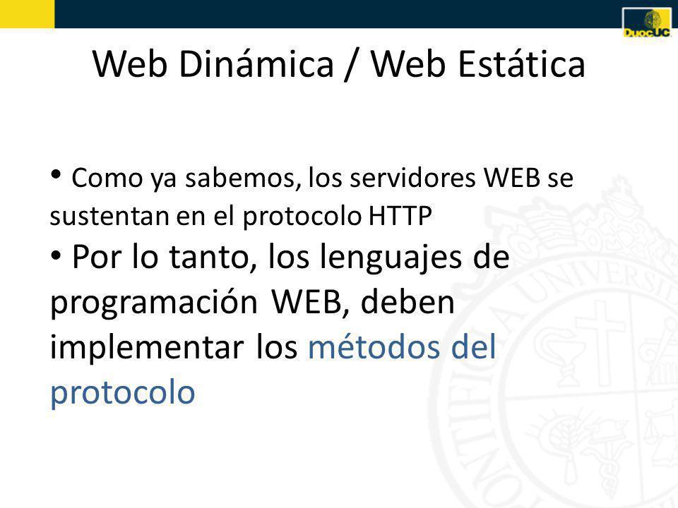 Web Dinámica / Web Estática Como ya sabemos, los servidores WEB se sustentan en el protocolo HTTP Por lo tanto, los lenguajes de programación WEB, deben implementar los métodos del protocolo