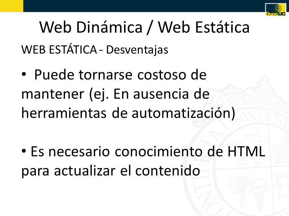 Web Dinámica / Web Estática WEB ESTÁTICA - Desventajas Puede tornarse costoso de mantener (ej.