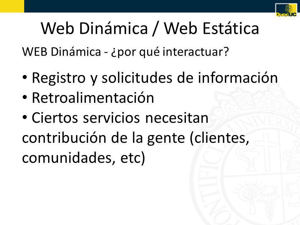 Web Dinámica / Web Estática Registro y solicitudes de información Retroalimentación Ciertos servicios necesitan contribución de la gente (clientes, comunidades, etc) WEB Dinámica - ¿por qué interactuar?