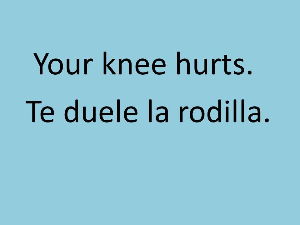 Your knee hurts. Te duele la rodilla.