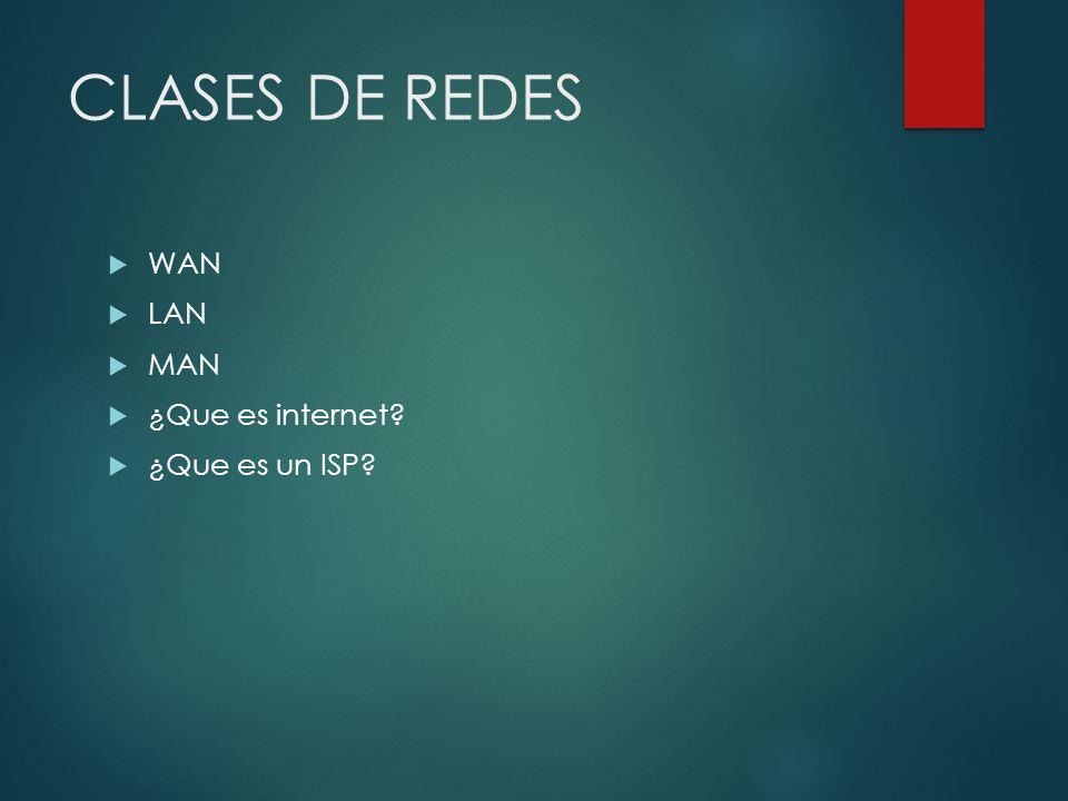 CLASES DE REDES WAN LAN MAN ¿Que es internet? ¿Que es un ISP?