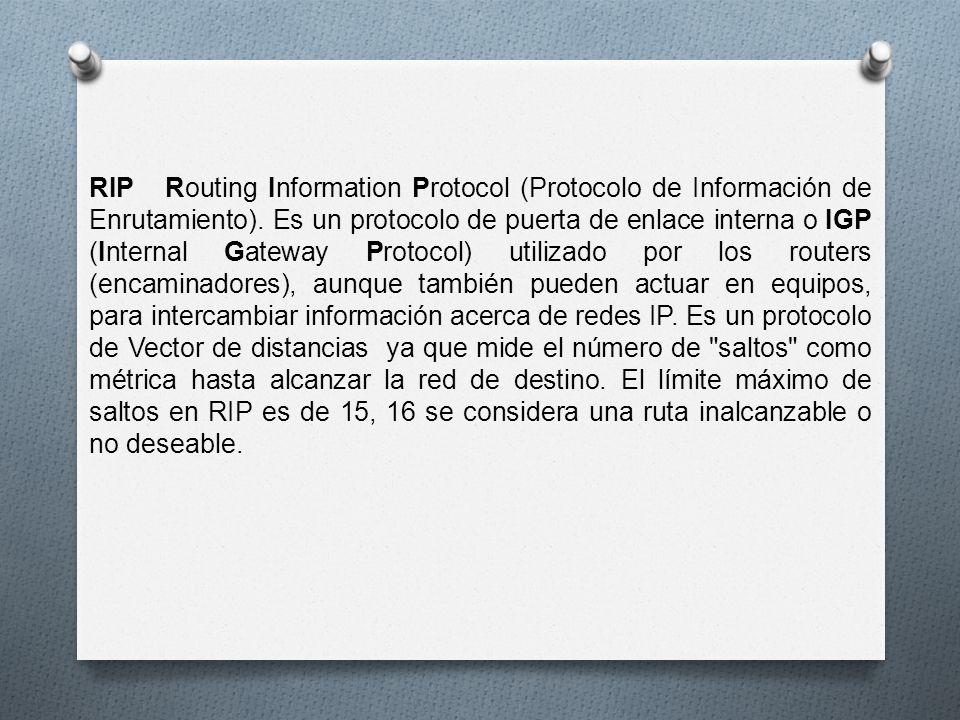 RIP Routing Information Protocol (Protocolo de Información de Enrutamiento). Es un protocolo de puerta de enlace interna o IGP (Internal Gateway Proto