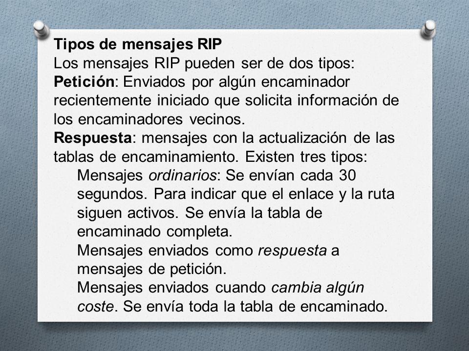 Tipos de mensajes RIP Los mensajes RIP pueden ser de dos tipos: Petición: Enviados por algún encaminador recientemente iniciado que solicita informaci
