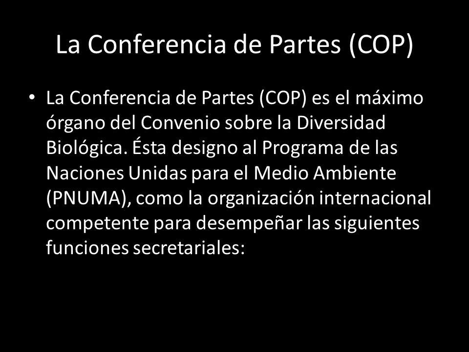 La Conferencia de Partes (COP) La Conferencia de Partes (COP) es el máximo órgano del Convenio sobre la Diversidad Biológica.