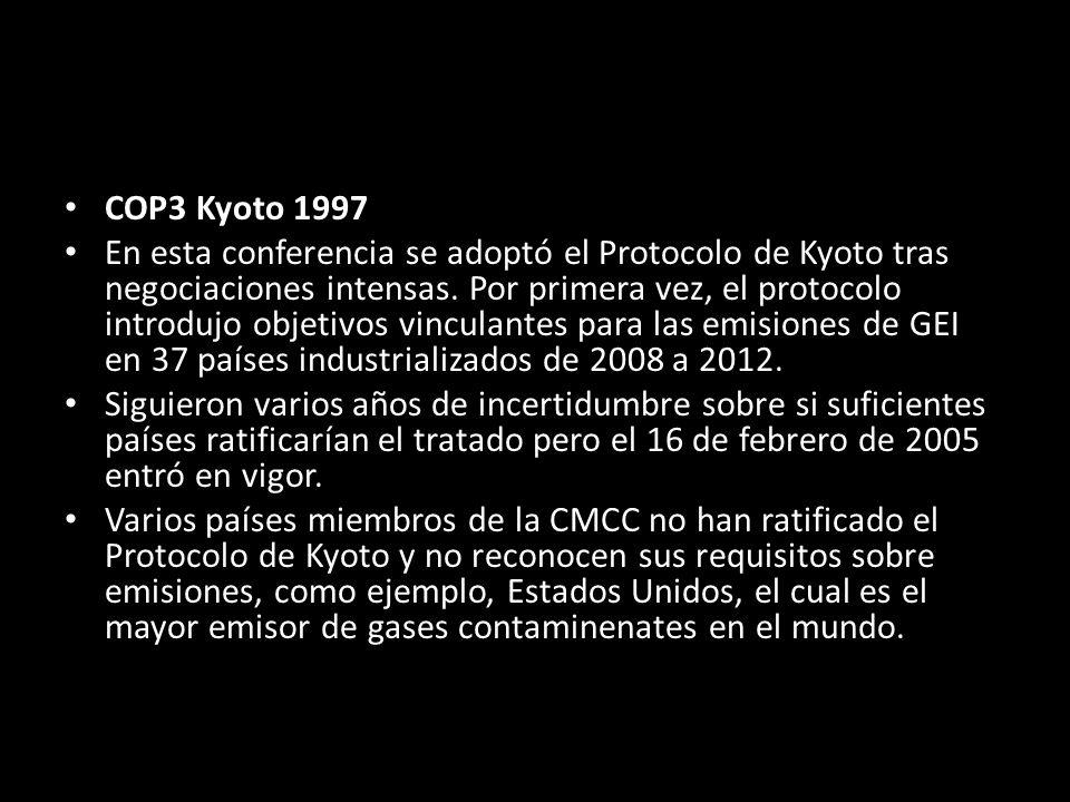 COP3 Kyoto 1997 En esta conferencia se adoptó el Protocolo de Kyoto tras negociaciones intensas.