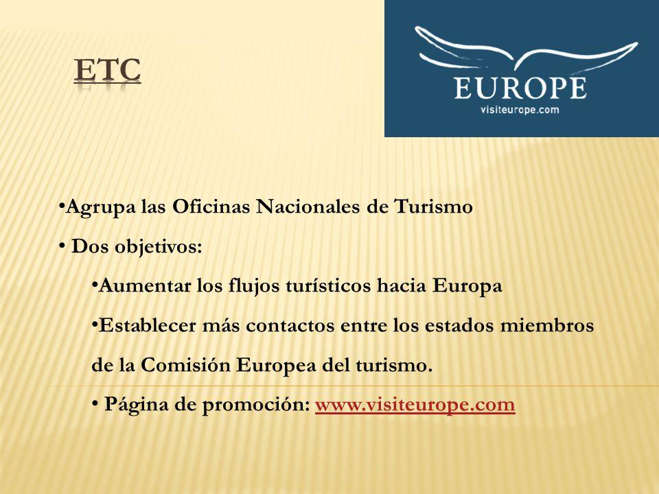 Agrupa las Oficinas Nacionales de Turismo Dos objetivos: Aumentar los flujos turísticos hacia Europa Establecer más contactos entre los estados miembr