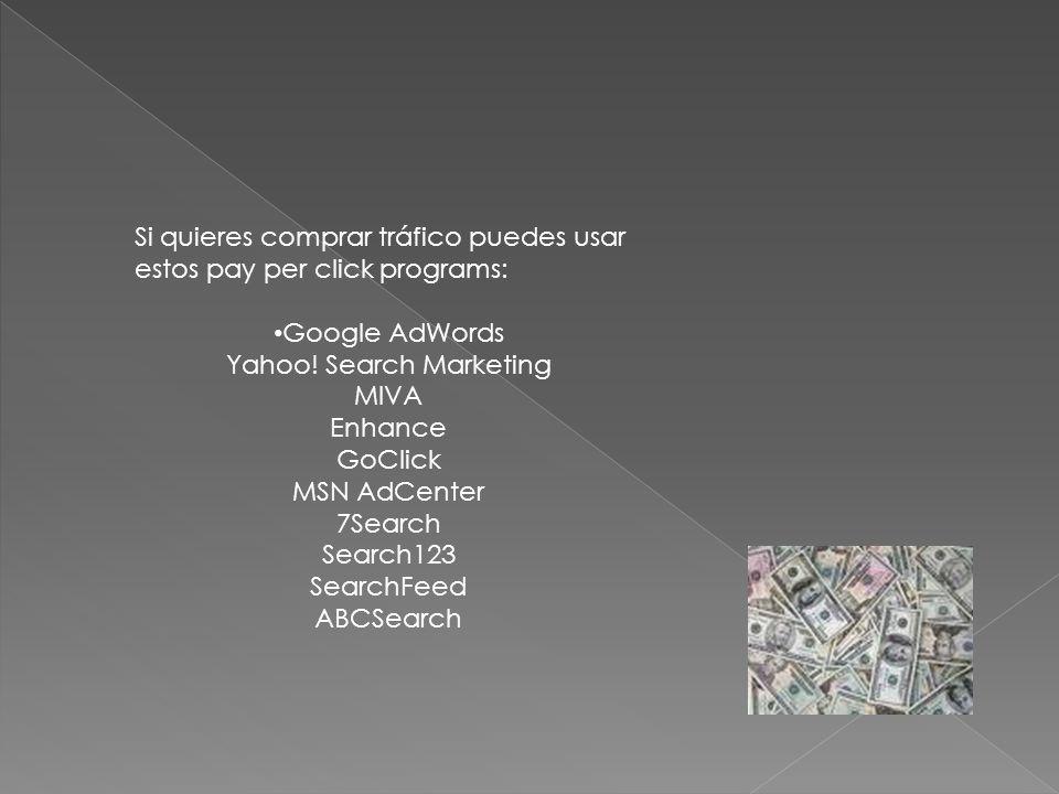 Si quieres comprar tráfico puedes usar estos pay per click programs: Google AdWords Yahoo.