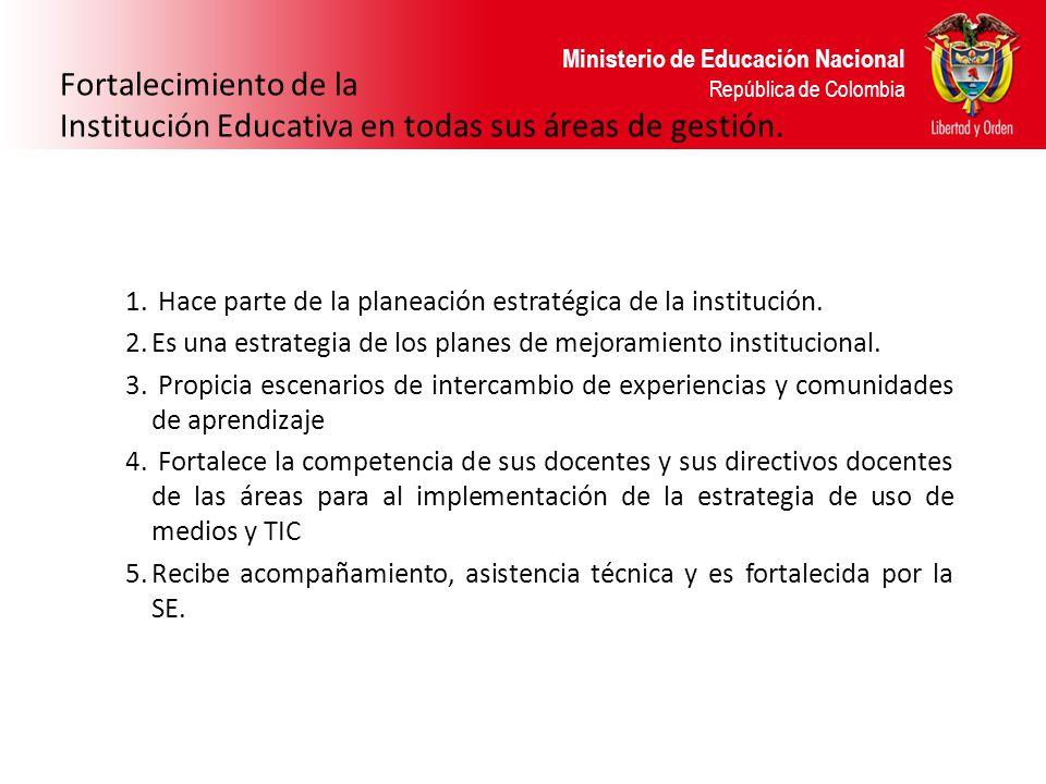 Ministerio de Educación Nacional República de Colombia Fortalecimiento de la Institución Educativa en todas sus áreas de gestión. 1. Hace parte de la