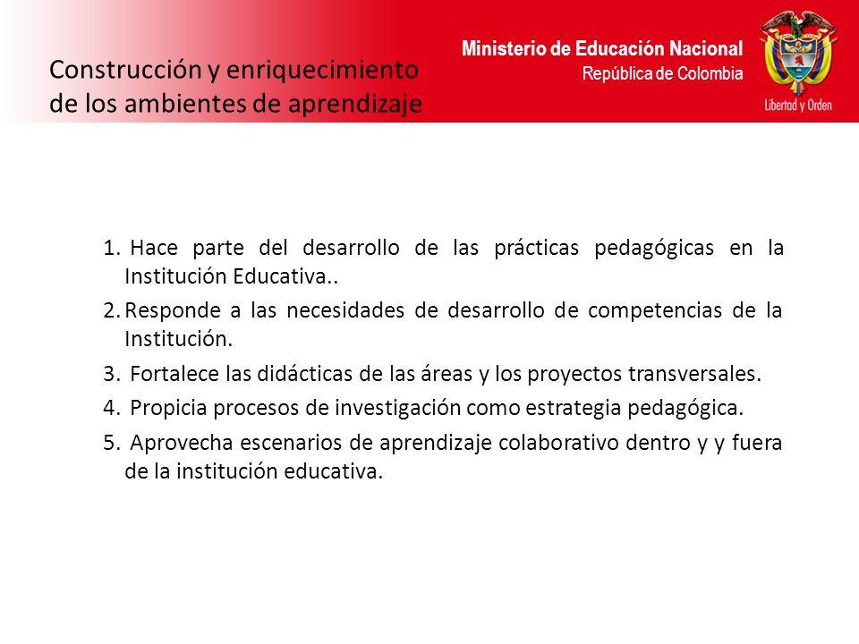 Ministerio de Educación Nacional República de Colombia Construcción y enriquecimiento de los ambientes de aprendizaje 1. Hace parte del desarrollo de
