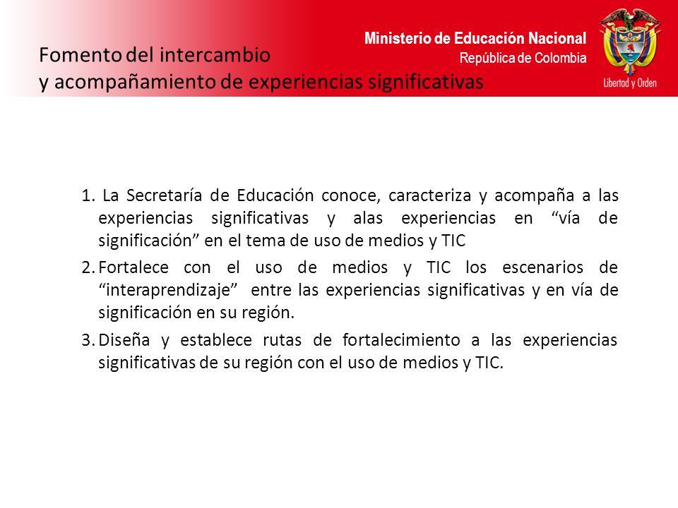 Ministerio de Educación Nacional República de Colombia Fomento del intercambio y acompañamiento de experiencias significativas 1. La Secretaría de Edu