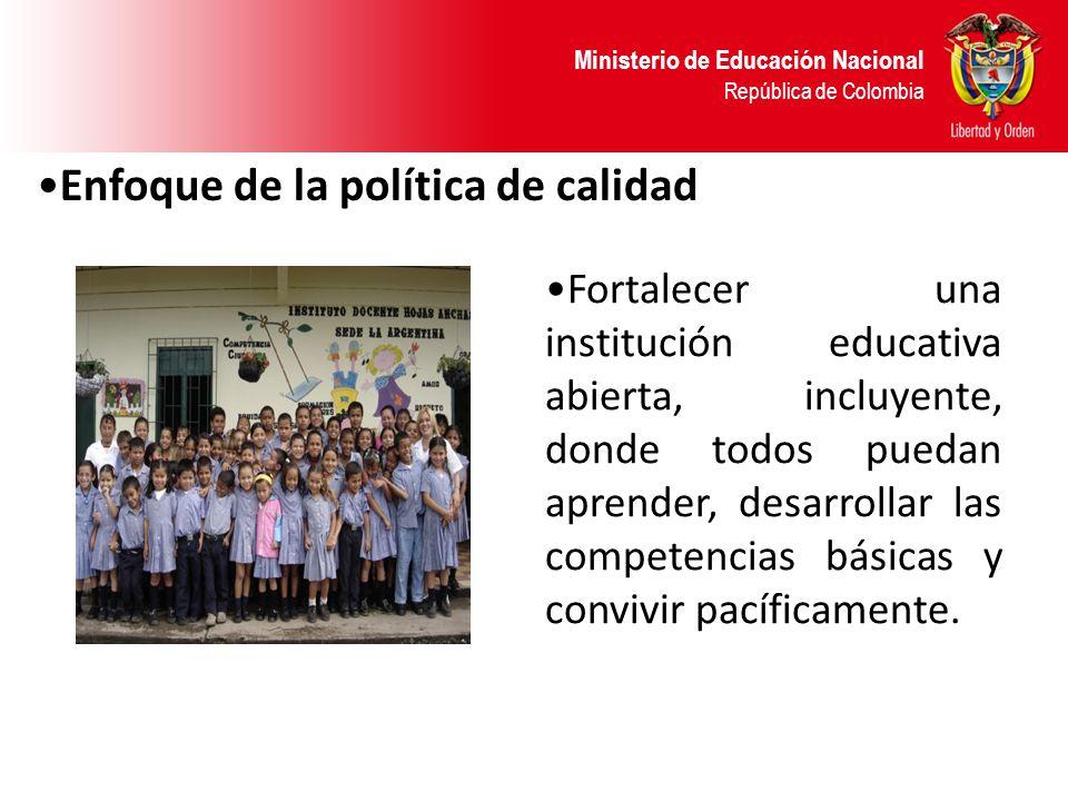 Ministerio de Educación Nacional República de Colombia Fortalecer una institución educativa abierta, incluyente, donde todos puedan aprender, desarrol