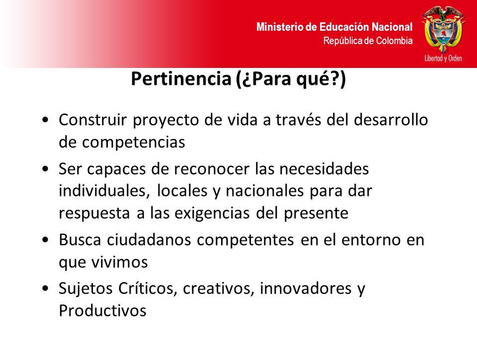 Ministerio de Educación Nacional República de Colombia Pertinencia (¿Para qué?) Construir proyecto de vida a través del desarrollo de competencias Ser