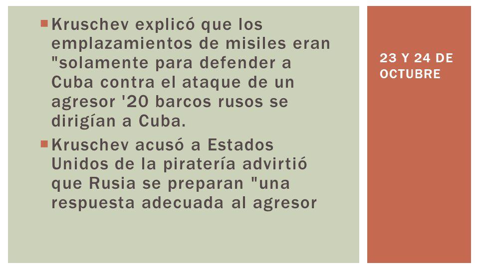 Kruschev explicó que los emplazamientos de misiles eran