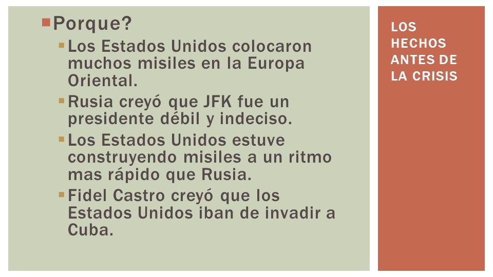 Porque? Los Estados Unidos colocaron muchos misiles en la Europa Oriental. Rusia creyó que JFK fue un presidente débil y indeciso. Los Estados Unidos
