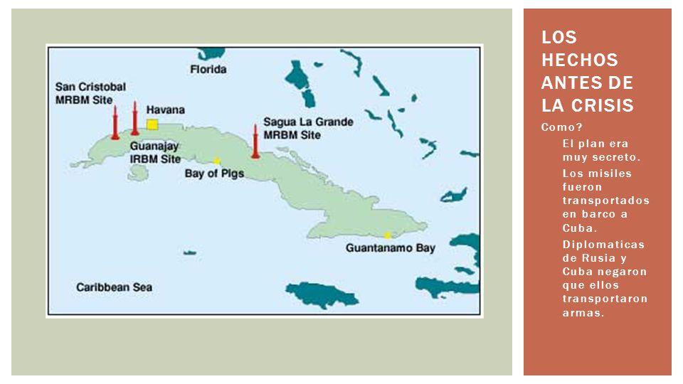 Como? El plan era muy secreto. Los misiles fueron transportados en barco a Cuba. Diplomaticas de Rusia y Cuba negaron que ellos transportaron armas. L