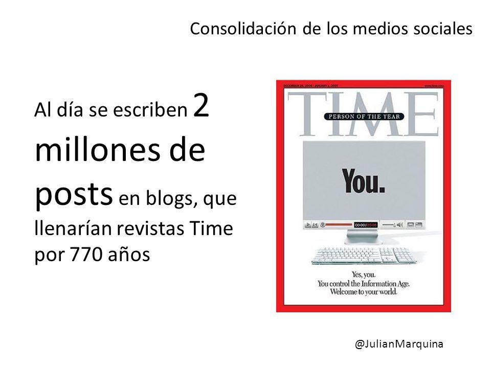 Al día se escriben 2 millones de posts en blogs, que llenarían revistas Time por 770 años Consolidación de los medios sociales @JulianMarquina