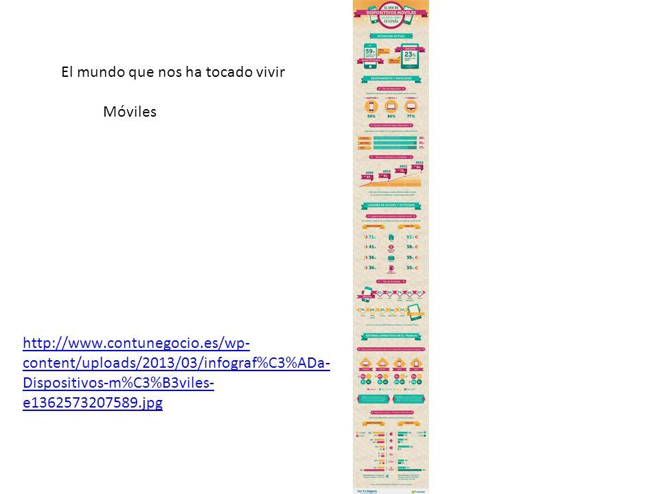 El mundo que nos ha tocado vivir Móviles http://www.contunegocio.es/wp- content/uploads/2013/03/infograf%C3%ADa- Dispositivos-m%C3%B3viles- e1362573207589.jpg