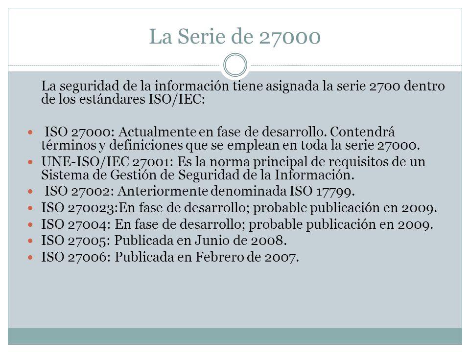 La Serie de 27000 La seguridad de la información tiene asignada la serie 2700 dentro de los estándares ISO/IEC: ISO 27000: Actualmente en fase de desarrollo.