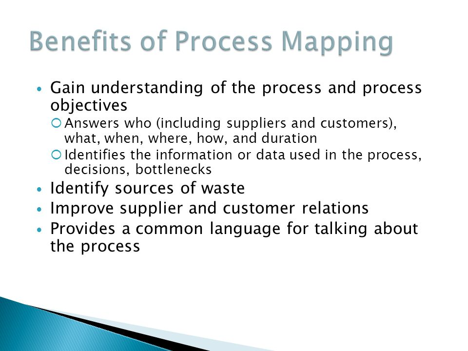 Gain understanding of the process and process objectives Answers who (including suppliers and customers), what, when, where, how, and duration Identif