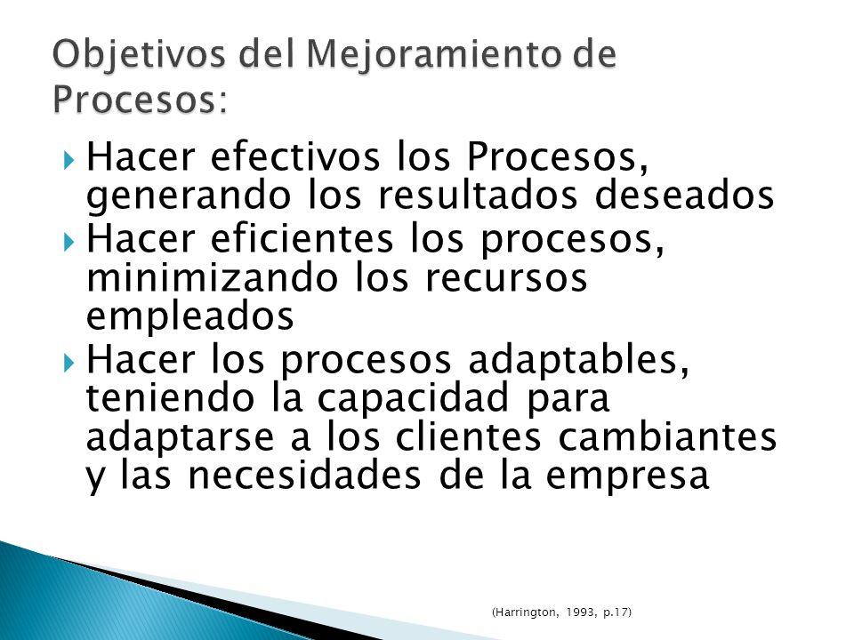 Hacer efectivos los Procesos, generando los resultados deseados Hacer eficientes los procesos, minimizando los recursos empleados Hacer los procesos a