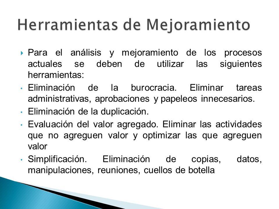 Para el análisis y mejoramiento de los procesos actuales se deben de utilizar las siguientes herramientas: Eliminación de la burocracia. Eliminar tare