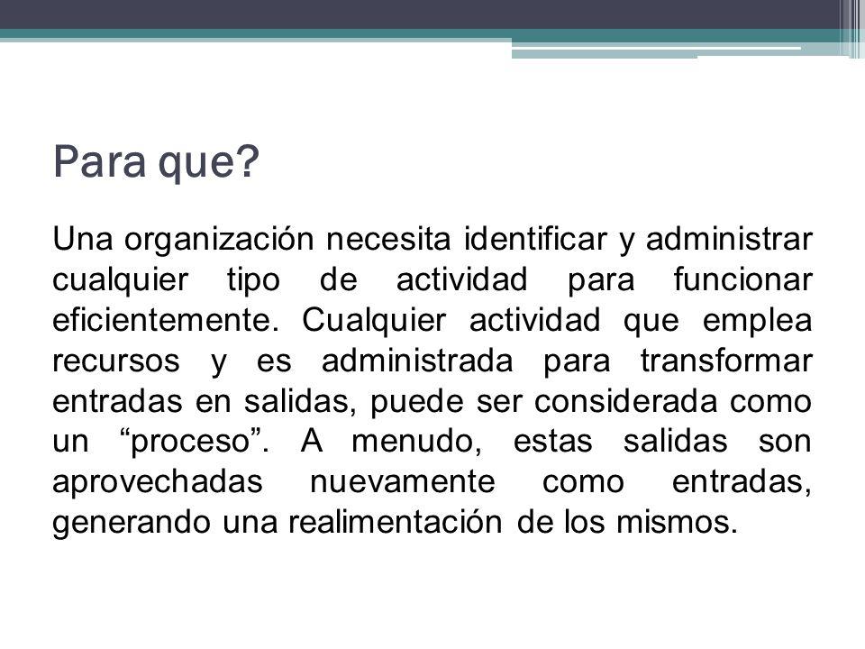 Para que? Una organización necesita identificar y administrar cualquier tipo de actividad para funcionar eficientemente. Cualquier actividad que emple