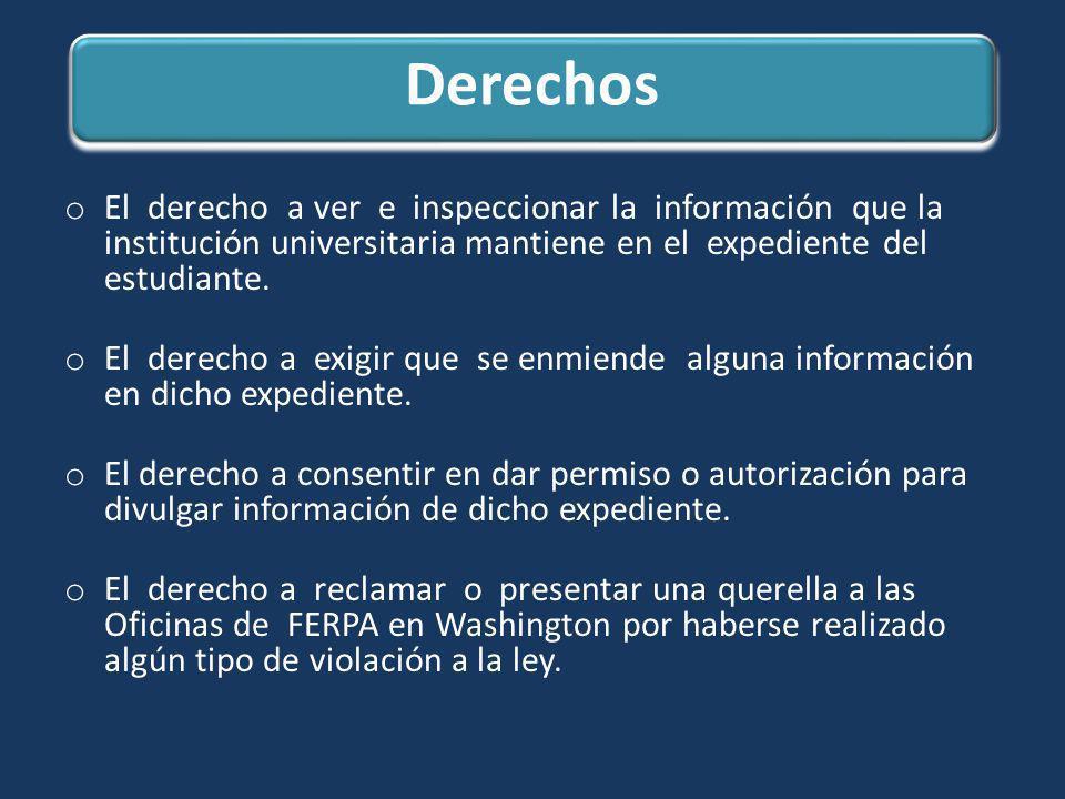 Derechos o El derecho a ver e inspeccionar la información que la institución universitaria mantiene en el expediente del estudiante. o El derecho a ex