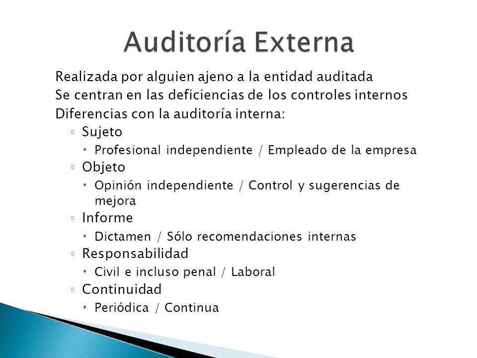 Realizada por alguien ajeno a la entidad auditada Se centran en las deficiencias de los controles internos Diferencias con la auditoría interna: Sujet