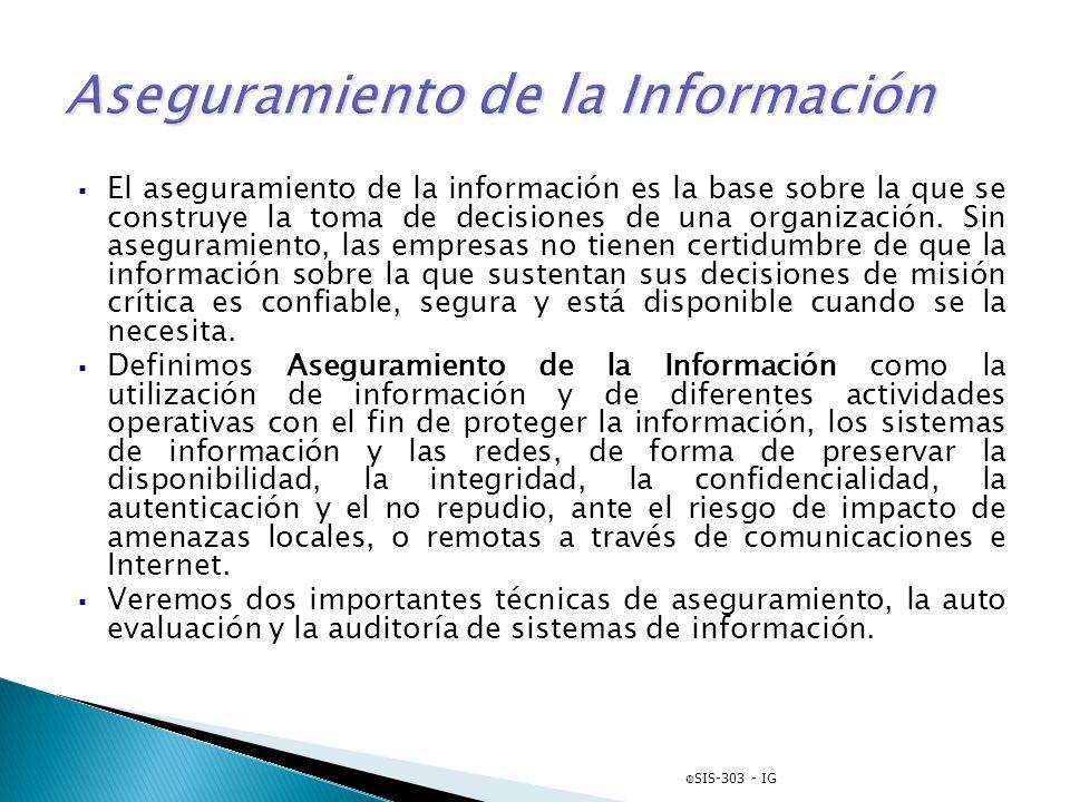 El aseguramiento de la información es la base sobre la que se construye la toma de decisiones de una organización. Sin aseguramiento, las empresas no