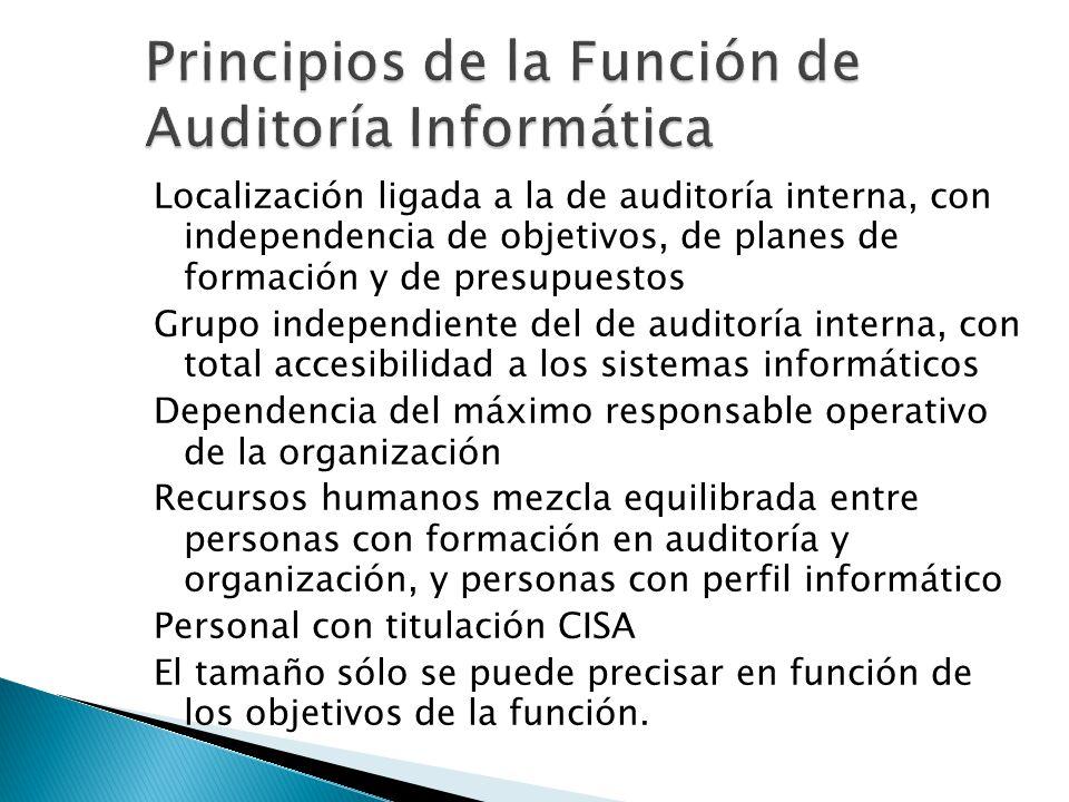 Localización ligada a la de auditoría interna, con independencia de objetivos, de planes de formación y de presupuestos Grupo independiente del de aud