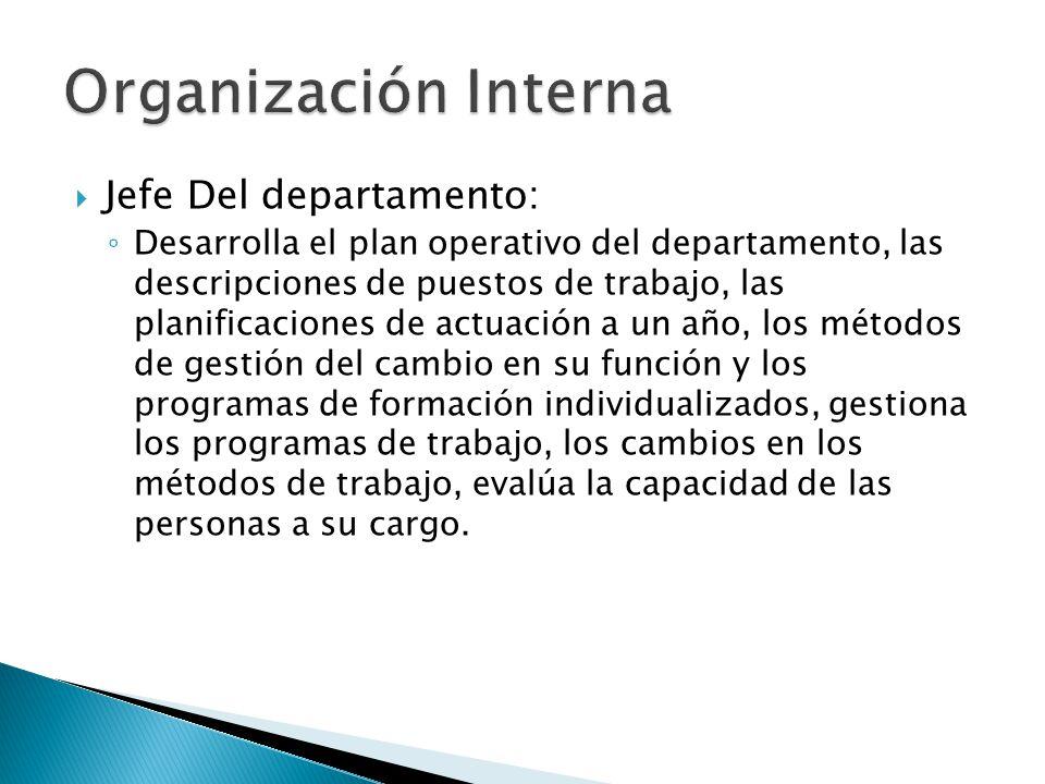 Jefe Del departamento: Desarrolla el plan operativo del departamento, las descripciones de puestos de trabajo, las planificaciones de actuación a un a