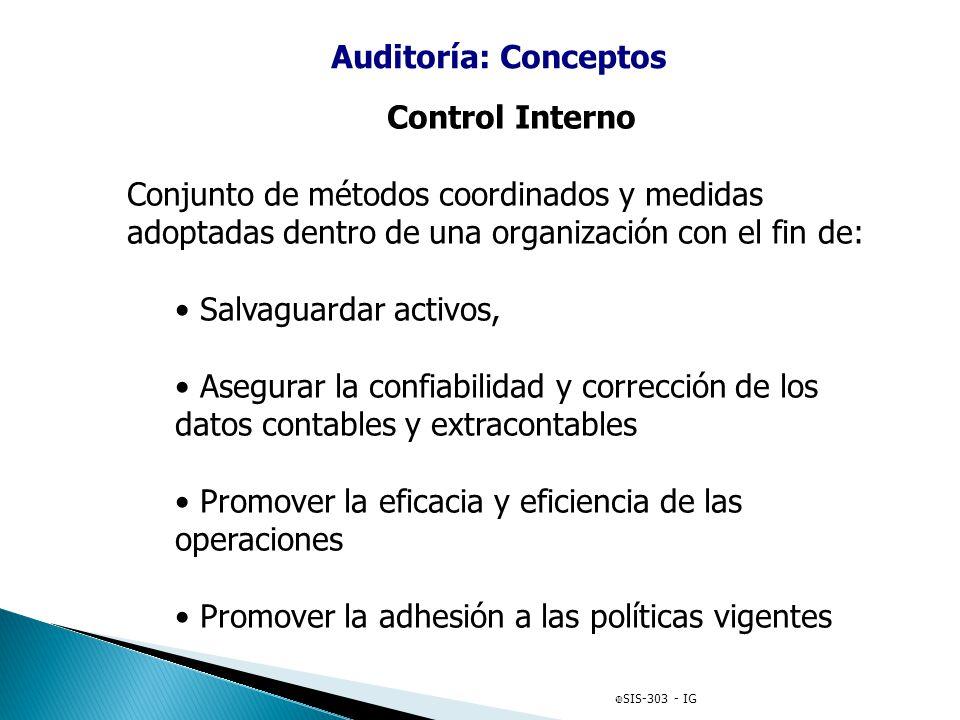 Auditoría: Conceptos Control Interno Conjunto de métodos coordinados y medidas adoptadas dentro de una organización con el fin de: Salvaguardar activo