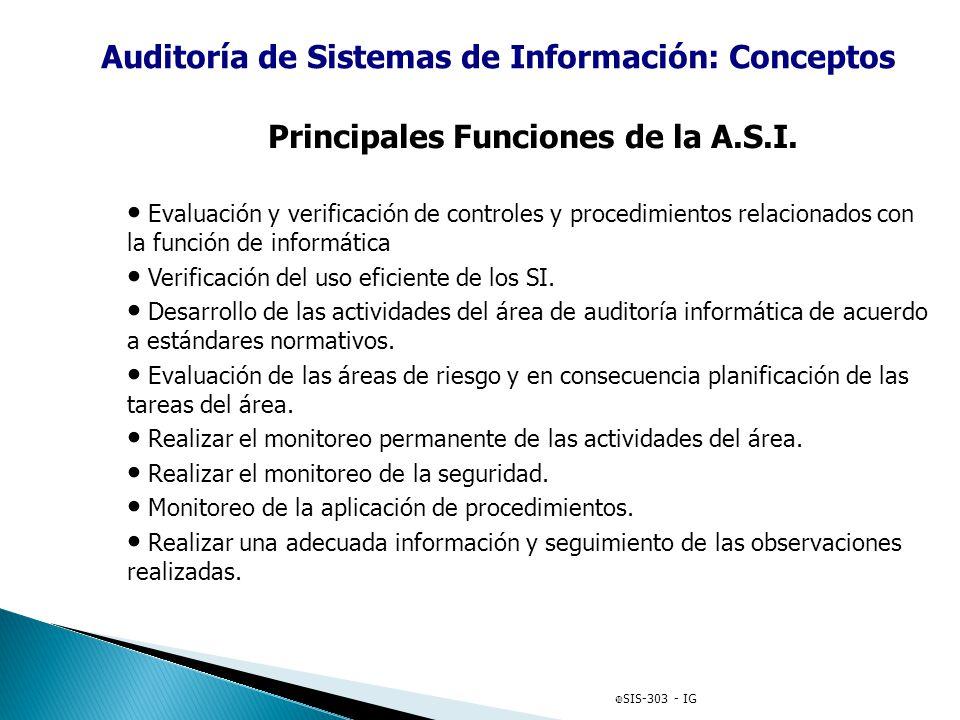 Principales Funciones de la A.S.I. Evaluación y verificación de controles y procedimientos relacionados con la función de informática Verificación del