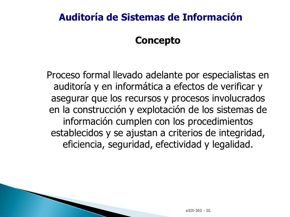 Auditoría de Sistemas de Información Concepto Proceso formal llevado adelante por especialistas en auditoría y en informática a efectos de verificar y
