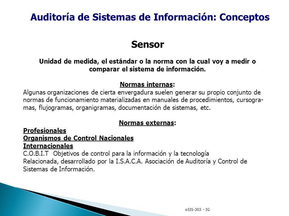 Auditoría de Sistemas de Información: Conceptos Sensor Unidad de medida, el estándar o la norma con la cual voy a medir o comparar el sistema de infor