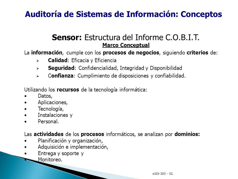 Auditoría de Sistemas de Información: Conceptos NORMAS ESPECÍFICAS DE TECNOLOGÍA INFORMÁTICA. Normas COBIT: (Control OBjectives for Information and re